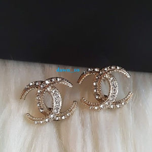Chanel Mini Crystal Moon Earrings, Gold